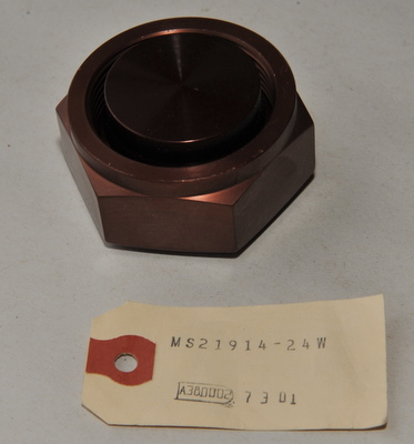 Aircraft Hydraulic end caps aluminum MS21914-24W NOS