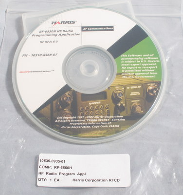 Harris RF-6550H HR Radio Programming Application Software HF RPA 6.0 PRC-150 10518-8568-07